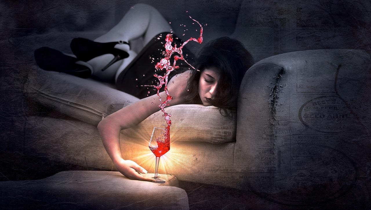 meisje met wijn